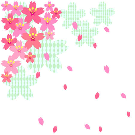 Background material of cherry blossoms and scattered petals  イラスト・ベクター素材