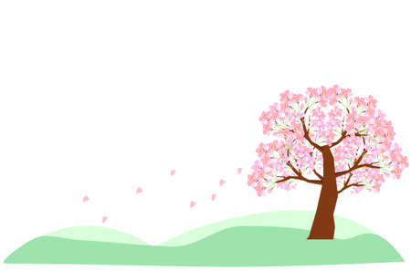 Cherry blossoms blooming on the hill Background material  イラスト・ベクター素材