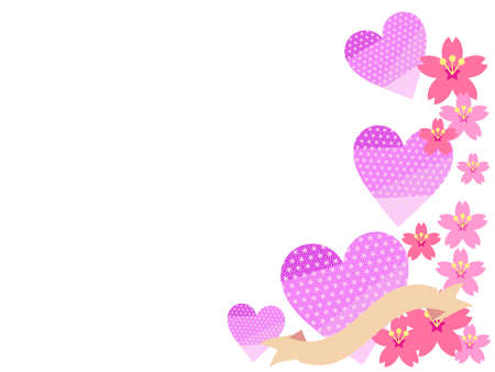 Japanese patterned heart and cherry blossom background  イラスト・ベクター素材