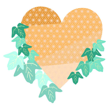 Japanese patterned heart and ivy leaves