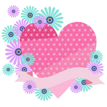 Japanese patterned heart and flower decoration