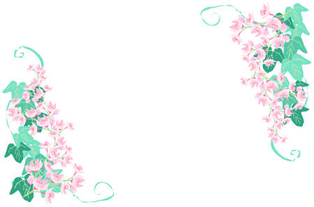 Cherry Blossom and Ivy Decorative Frame  イラスト・ベクター素材