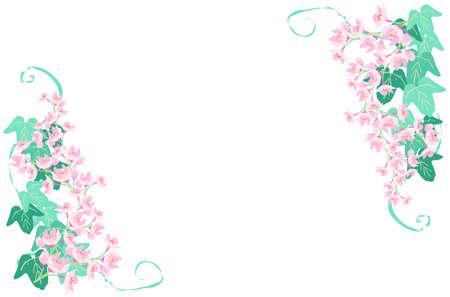 Cherry Blossom and Ivy Decorative Frame 写真素材 - 163191189