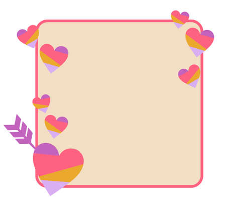 a frame with an arrow stuck in one's heart  イラスト・ベクター素材