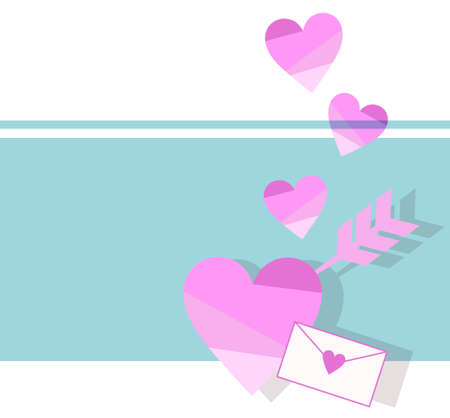 Heart and love letter background material