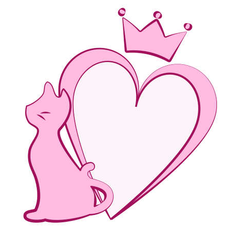 Silhouette of cat with heart and crown  イラスト・ベクター素材
