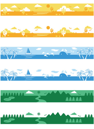 Desert, Sea and prairie landscapes Vector