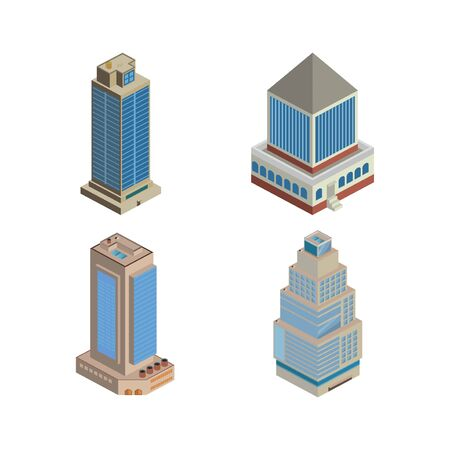 Vector isometric icon or infographic elements representing low poly town apartment building
