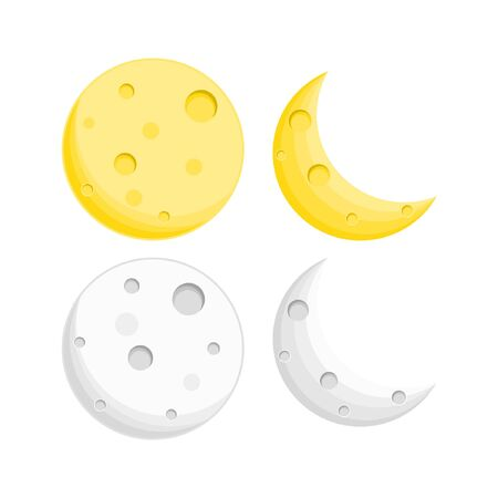 vector illustration moon yellow and white color