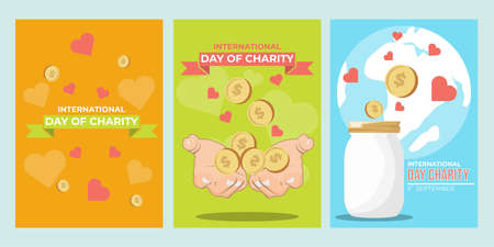 International Day of Charity. International Day of Charity, 5 September. Vector illustration of International Day of Charity poster. Can used cover, social media content, and poster design.