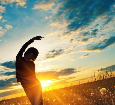Young woman under sunset light Stock Photo - 5582615