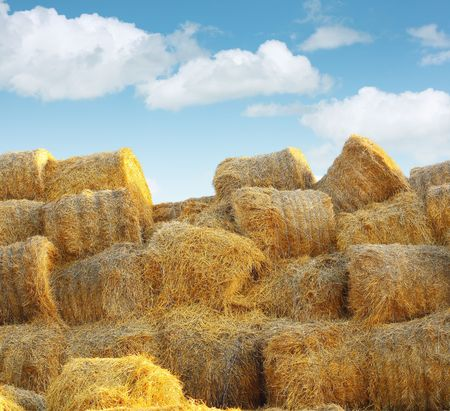 Stock of straw packs under blue sky photo
