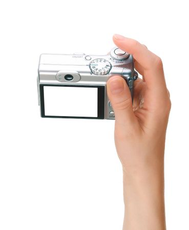 Digital camera in hand photo