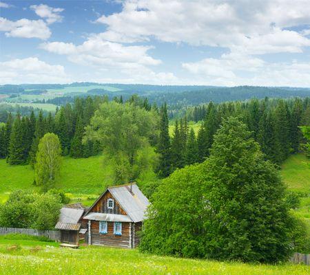 Casa de madera poco solo en el bosque de