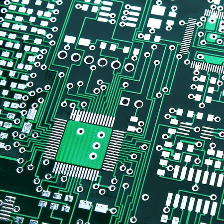 soldered: Green electronic board without components