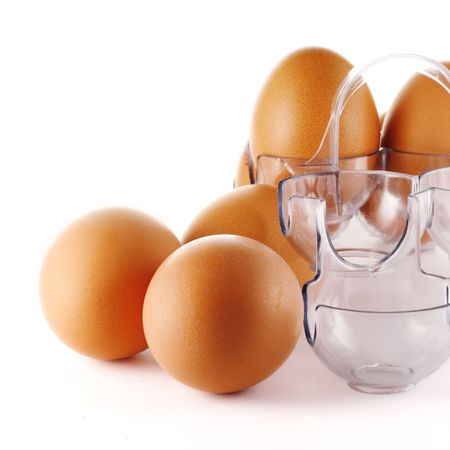 Yellow eggs and plastic protective case photo