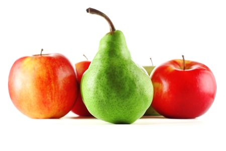 Red apples and green pear photo
