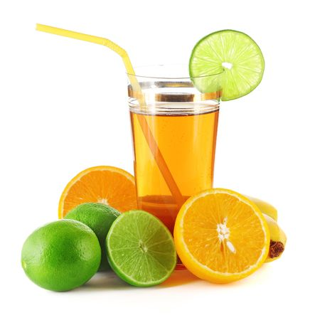 fruit drinks: Tropical fruits and glass with juice Stock Photo