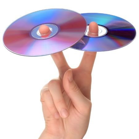 optical disk: Two CD on fingers