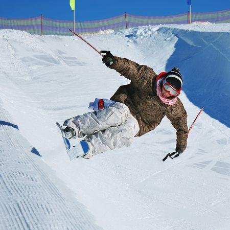 Ski rider in jump photo