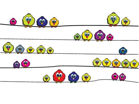 waiting in line: coloured birdies on wire