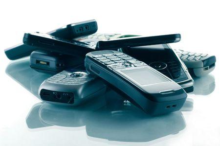 blue toned: Heap of blue toned phones