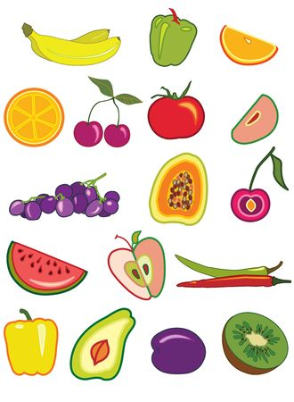 pastiche: Fruits and vegetables rasterized copy Stock Photo