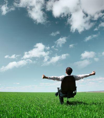 simplicity: Empresario joven sentado en la silla en campo verde Foto de archivo