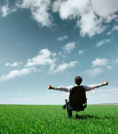 Young businessman sitting on chair in green field Stock Photo - 5846473