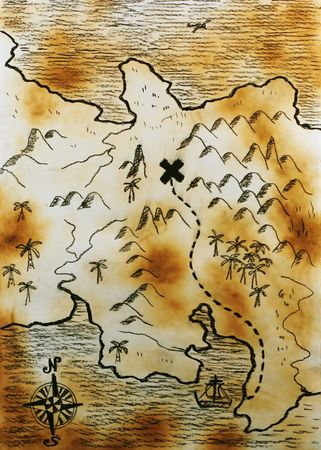 Old burned hand made map photo