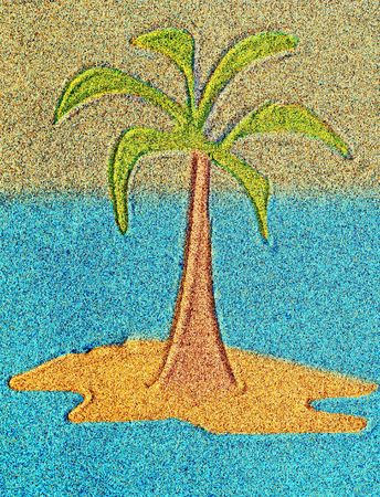 cartoon palm tree: Abstract palm on island - drawing on sand