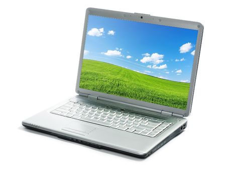 Laptop with image isolated on white Stock Photo - 6444297
