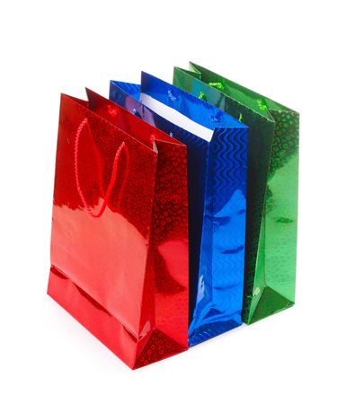 Colored empty bags over white Stock Photo - 6444390