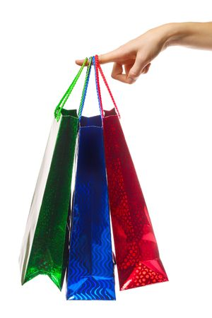 Empty shopping bag hanging on finger Stock Photo - 6444575