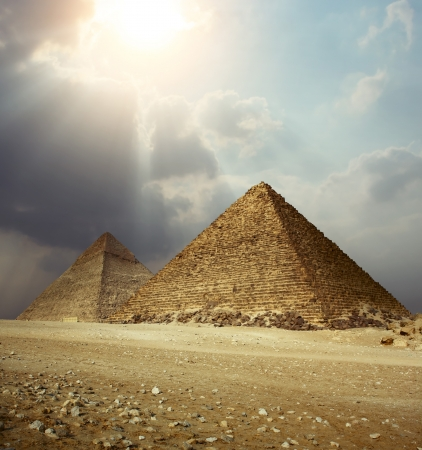 egyptian pyramids: Sunlight over Giza pyramids. Egypt Stock Photo