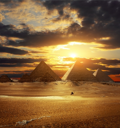 egyptian pyramids: Sunset over Giza pyramids. Egypt