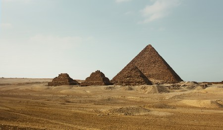 Giza valley with group of pyramids photo