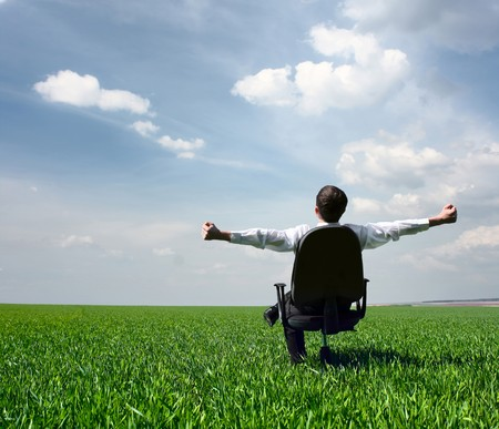 Young men sitting on chair in green meadow Stock Photo - 7112856