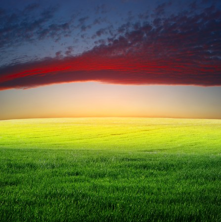rowth: Evening clouds over meadow with green grass Stock Photo