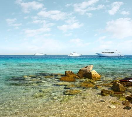 Yacht on sea near coast Stock Photo - 7112840