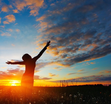arms open: Woman standing on meadow with summer herbs over cloudy sky and sunset light