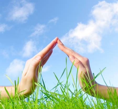 Hand sign above green wet grass over blue sky background photo