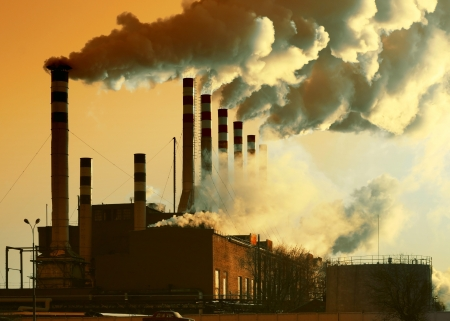 factory power generation: Plant with smoke Stock Photo