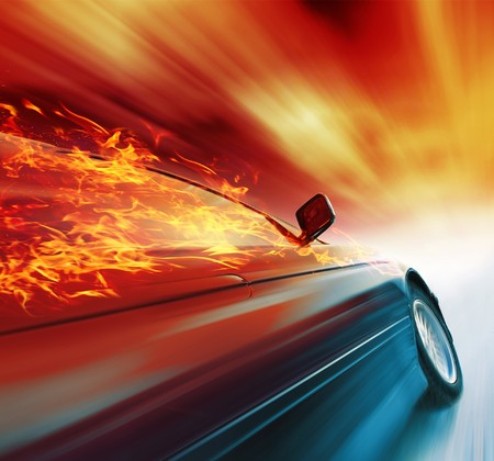 car side: Burning sport car in motion with red blurry clouds