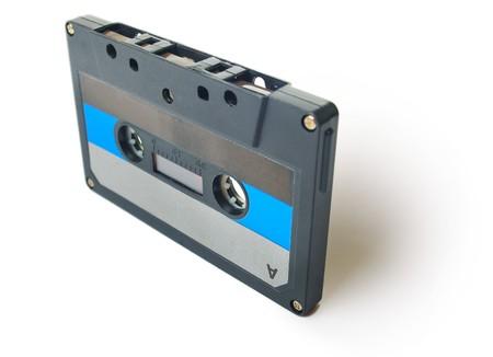 Audio cassette on white background photo
