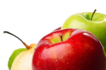 Ripe fruits over white Stock Photo