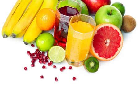 Tropical fruits with glasses photo