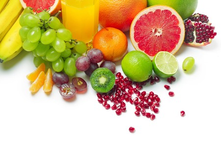 Wet ripe tropical fruits and glass with juice Stock Photo - 7296948