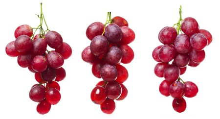 Purple grape bunches with green stems isolated on white photo