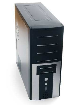 fileserver: Black computer case with buttons isolated on white background